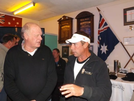 • Foster RSL Club president Bruce Lester speaks with special guest Brian Freeman during his visit to Foster last Tuesday evening.