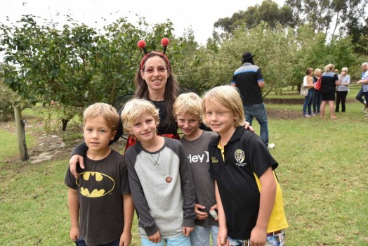 • At the hugely successful Pear Party at Toora's Heritage Pear Orchard on Sunday, 'Ladybug' Sharon Jones was chief organiser of kids' activities. She is pictured with a few of her young charges – Ned (left) and Max (right) Sheahan of Leongatha North, and Rye (second from left) and Jarrah Cicero of Sandy Point. See story and more photos in this week's Mirror.