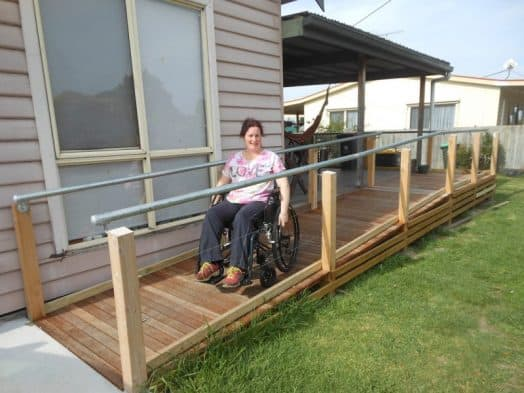• Access to her home is easier now for Tracey Van Kuyk, thanks to the Toora Lions' construction of a ramp with a gentle gradient.