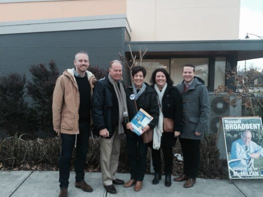 • The Broadbent family on election day – from left, Paul, Russell, Bronwyn, Emily and Evan.