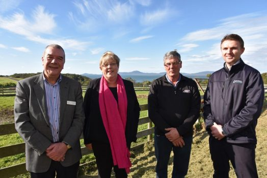 • South Gippsland Water director and South Gippsland Shire Councillor Jim Fawcett, Water Minister Lisa Neville, Yanakie Progress Association president Alex Moon and Chris Hughes of Southern Rural Water (L to R) at Yanakie last Wednesday for the minister's announcement of $50,000 for a feasibility study into long-term water supply options for Yanakie.