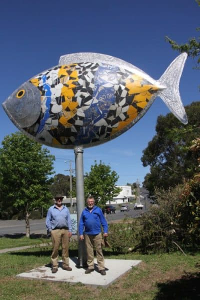 • Fish Creek's new fish flies high above its creators, Andrew McPherson and Ray Jones.