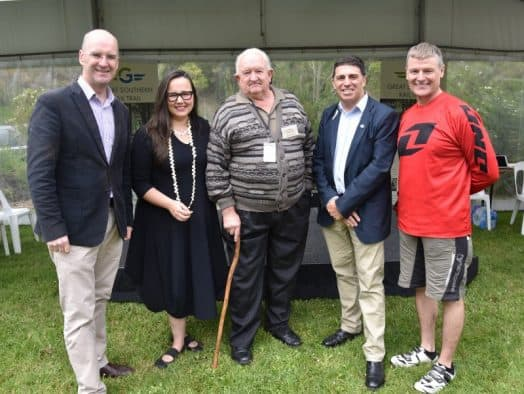 • At Saturday's relaunch at Fish Creek of the completed Great Southern Rail Trail, complete with signage – (L-R) Member for Gippsland South Danny O'Brien, Member for Eastern Victoria Region Harriet Shing, chair of the rail trail committee of management Neville Pulham, South Gippsland Shire mayor Cr Ray Argento, South Gippsland Shire CEO (and cyclist) Tim Tamlin.