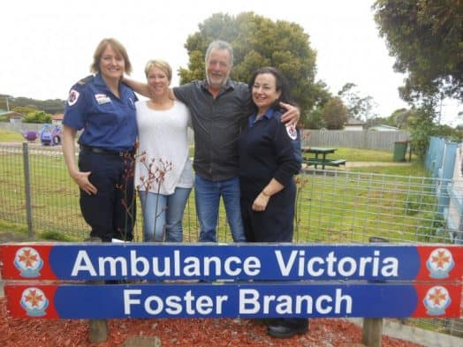 • Scott Mackay and fiancée Alison Urquhart at Foster last week to thank Ambulance Community Officer Miranda Staley (left) and paramedic Leigh Nichols-Thompson (right) for handling the situation so superbly after Scott suffered a terrible accident at Yanakie.